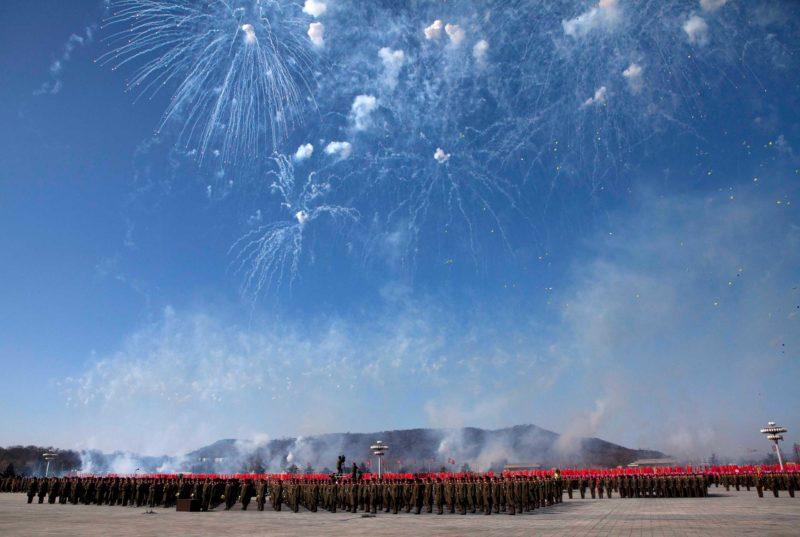 David Guttenfelder Feb. 16, 2012. Fireworks explode over the heads of North Korean soldiers lined up in formation at Kumsusan Memorial Palace in Pyongyang during a parade of thousands of soldiers commemorating the 70th birthday of the late Kim Jong-Il