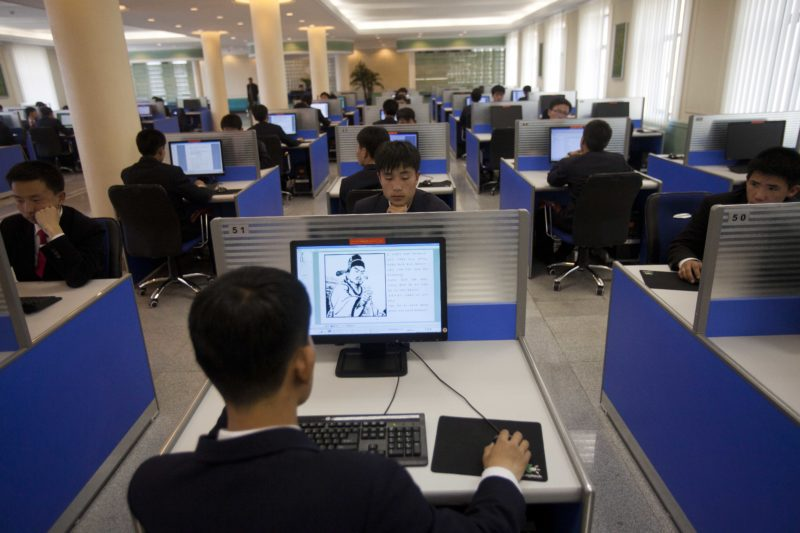 David Guttenfelder - In this April 13, 2011 photo, people work on library computers at Kim Il Sung University in Pyongyang, North Korea. North Korea is undergoing a digital revolution of sorts, even as it holds some of the strictest cyberspace policies in the world