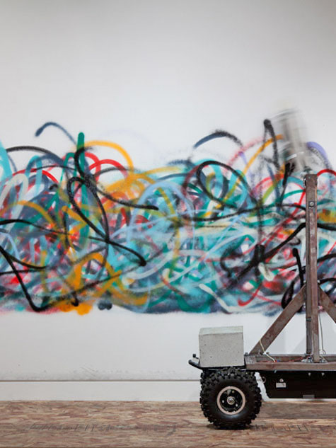 This graffiti sprayed by a robot makes no sense