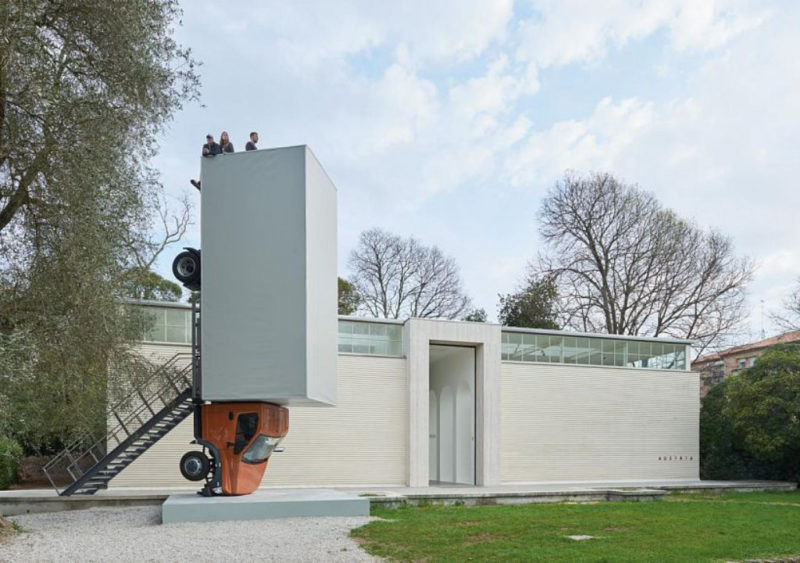 Erwin Wurm - One Minute Sculpture - Stand quiet and look out over the mediterranean sea, 2016 – 2017 performative one minute sculpture | truck, mixed media | h 874 x w 240 x l 274 cm
