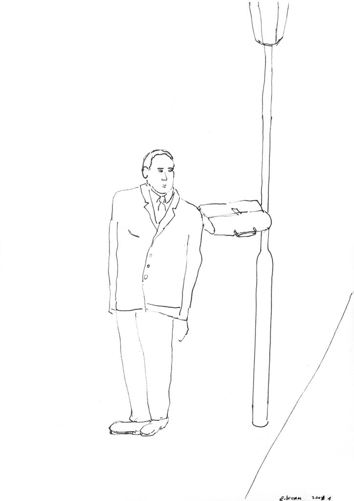 Erwin Wurm - One Minute Sculptures drawing, morning walk, 2001, 29,7x21cm 2