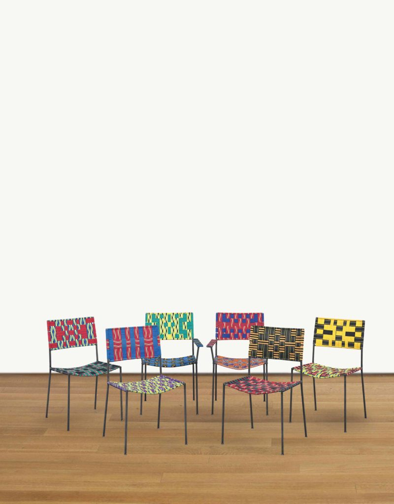 Franz West - Six Uncle Chairs, 2005, woven synthetic textile over steel tubular frame each 87.6 x 50.1 x 51.4 cm (34 1/2 x 19 3/4 x 20 1/4 in.)
