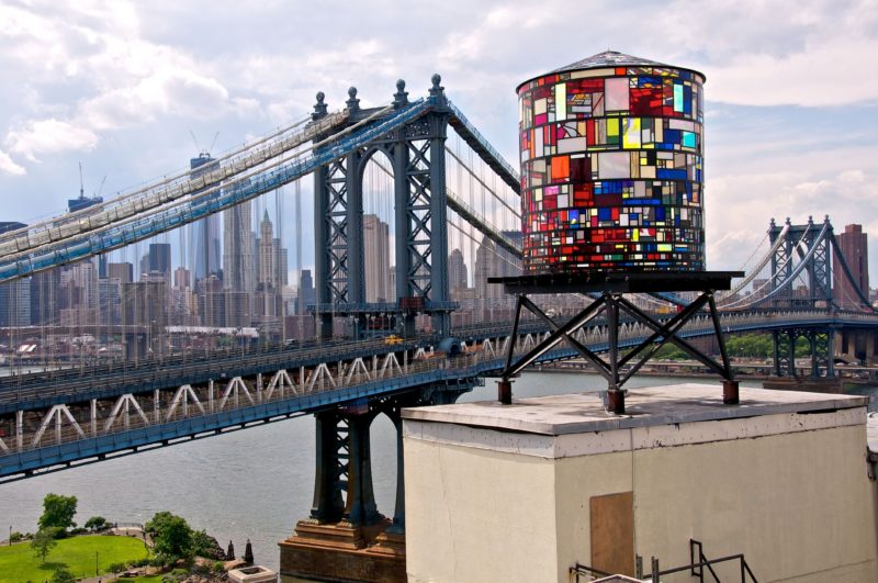 Tom Fruin – Watertower, 2010, 6x3x3m, found plexiglas, steel, bolts