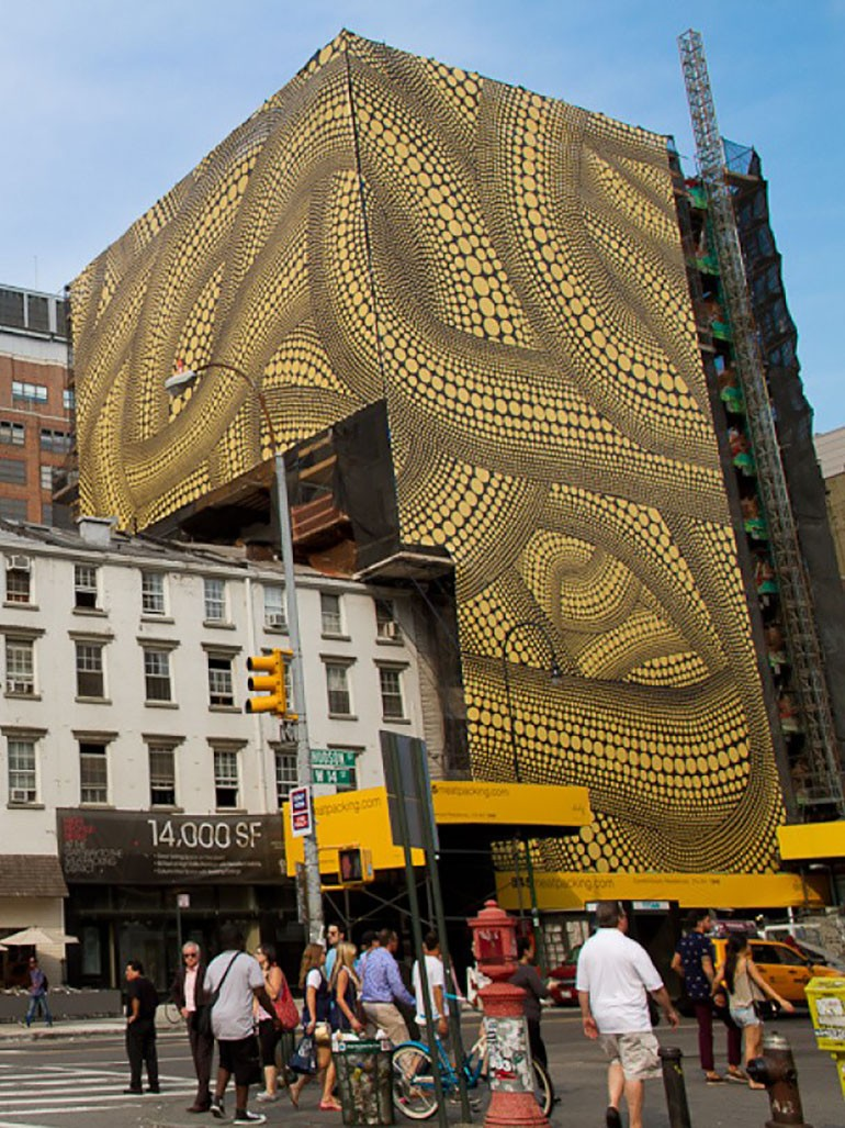 Yayoi Kusama's Yellow Trees covers entire buildings in New York