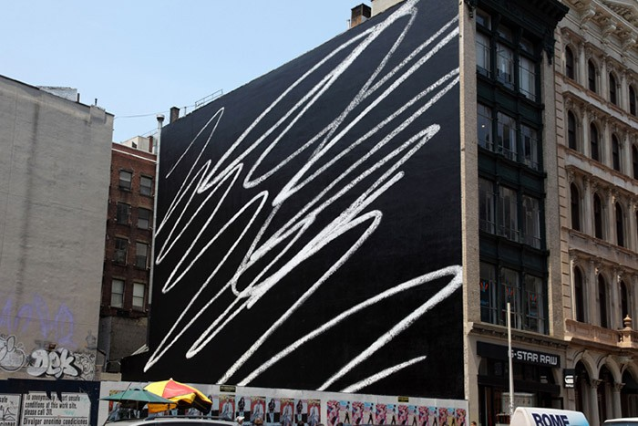 Karl Haendel - <em>Scribble</em>, 2009, paint on brick, NYC - 2