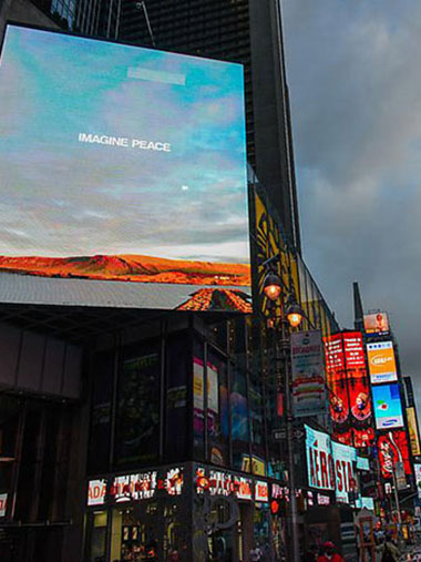"Yoko Ono's ""Imagine Peace"" on 15 giant billboards at Times Square, New York"
