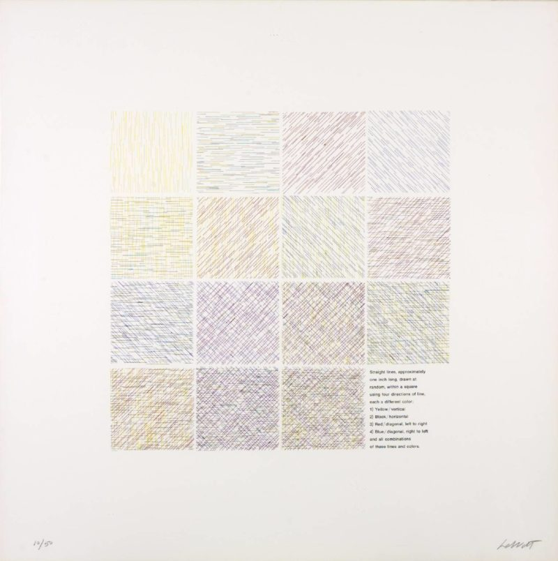 Sol LeWitt – Lines of One Inch, Four Directions, Four Colours (set of 16), 1971