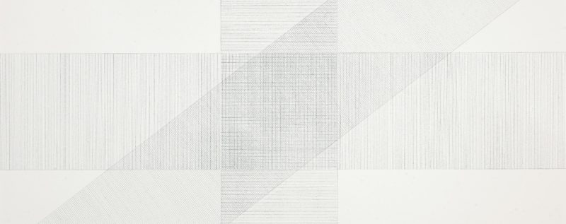 Sol LeWitt – Wall Drawing #16, September 1969, Black pencil, Bands of lines 12 inches (30 cm) wide, in three directions (vertical, horizontal, diagonal right) intersecting.