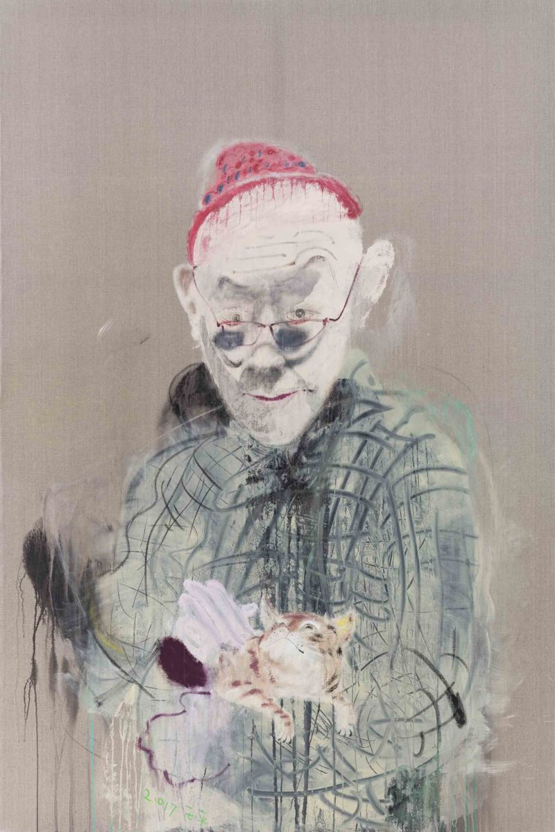 Wang Yuping – Self-portrait holding a cat, 2017, acrylic and oil pastels on canvas, 240 x 160 cm
