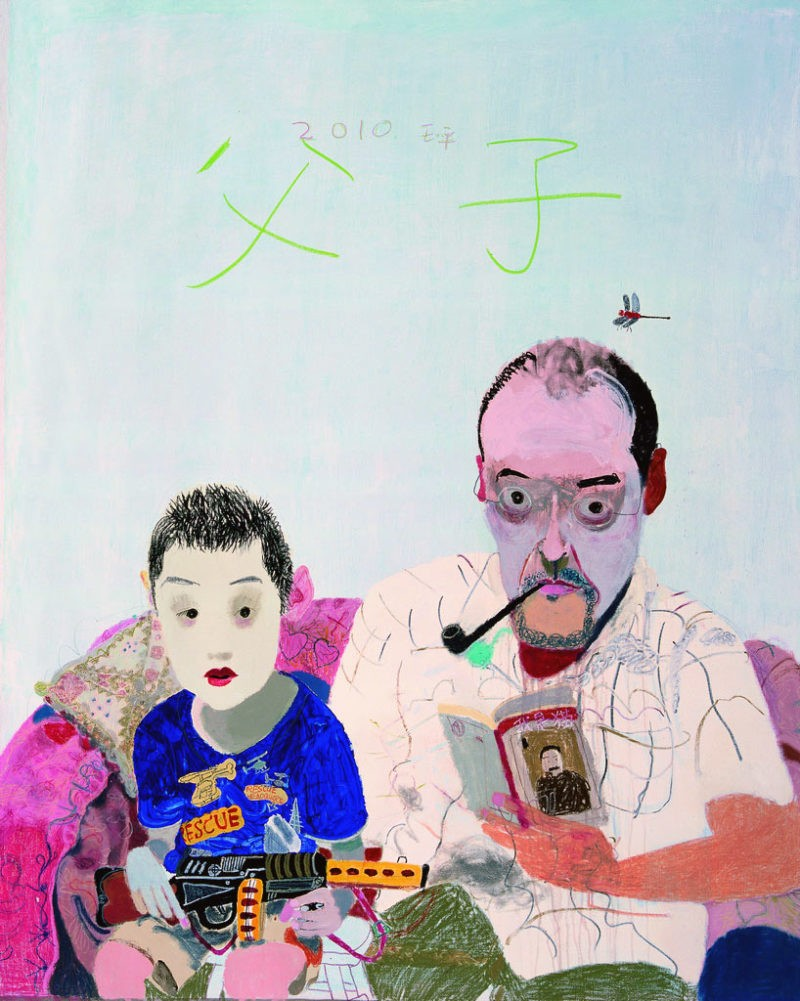 Wang Yuping - Father and Son, 2010, oil painting and acrylic, 200x160cm