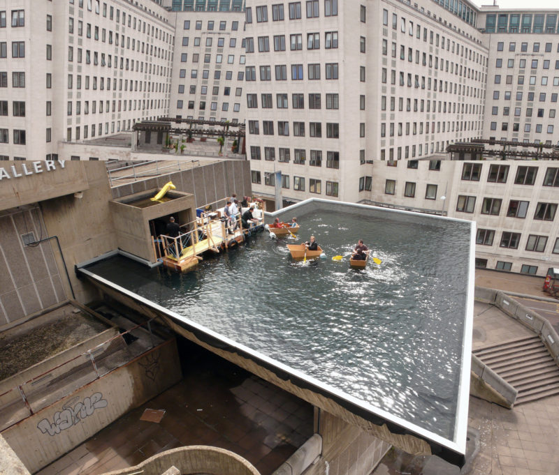 Gelitin – Normally, Proceeding and Unrestricted With Without Title, 2008, pool installed on top of Hayward Gallery, London