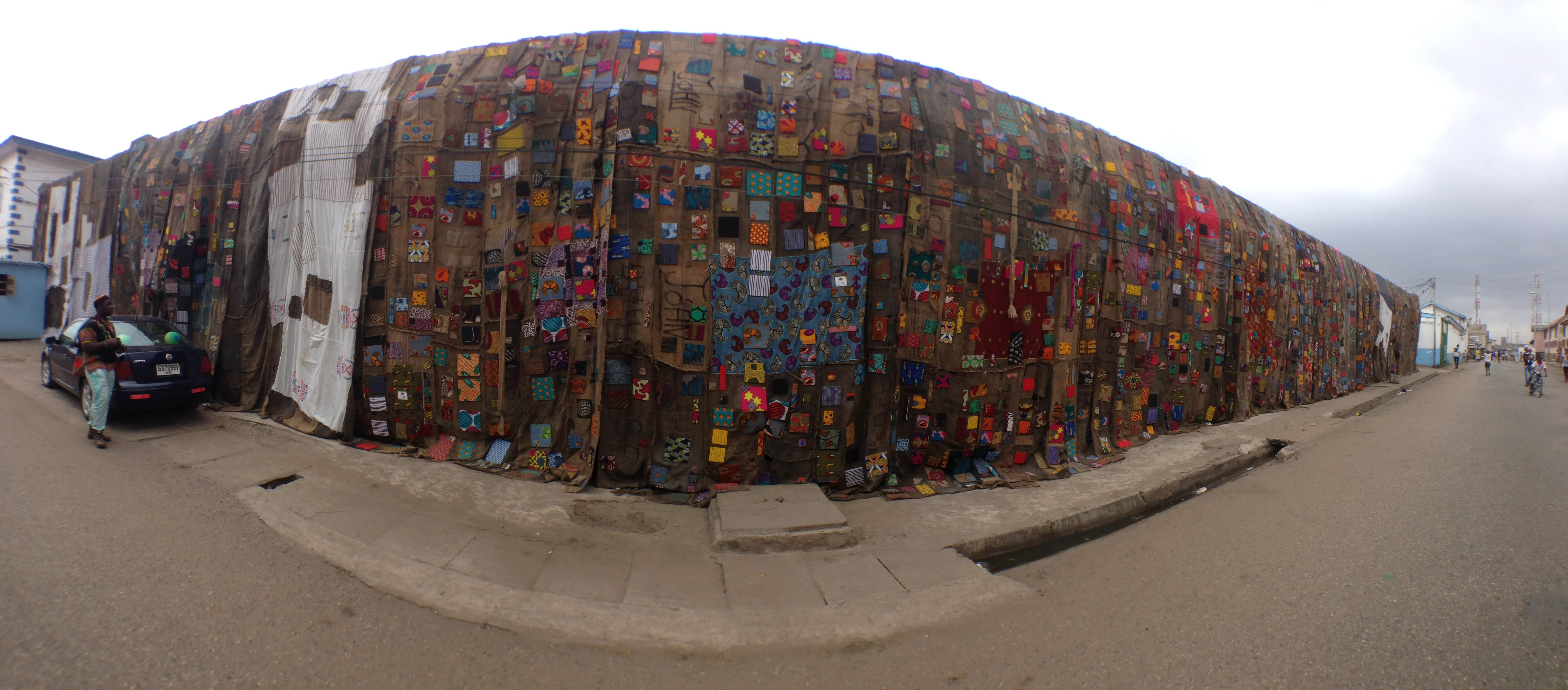 Ibrahim Mahama covers entire buildings with jute sacks from