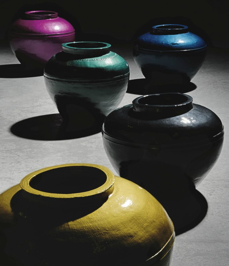 Ai Weiwei - Han Dynasty Vases in Auto Paint, 2014, Photo Sotheby's