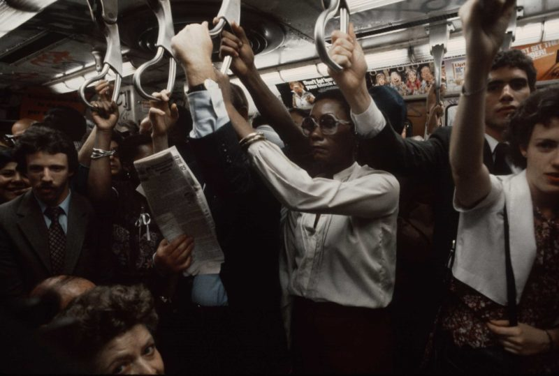 Christopher Morris - A packed subway car during rush hour, 1981
