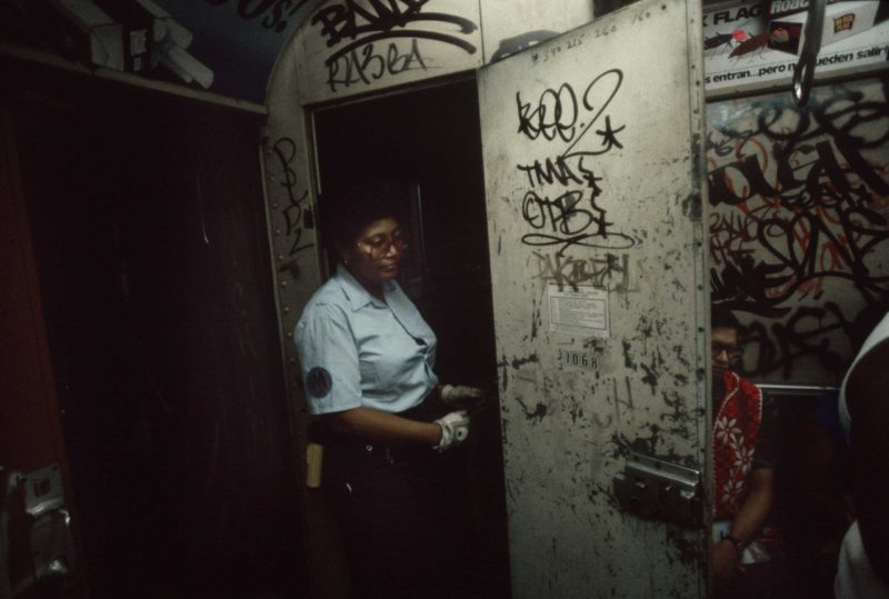 Christopher Morris - A subway conductor exits the conductor's cabin, 1981