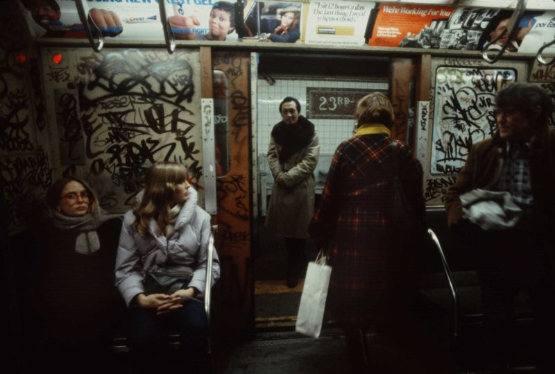 Christopher Morris - A man about to board a subway car, 1981