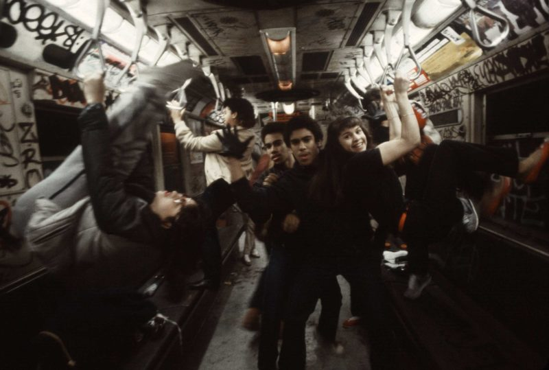 Christopher Morris - A group of teens pose on the 6 train in the South Bronx, 1981