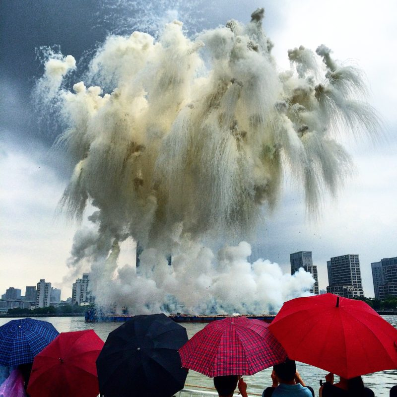 Cai Guo-Qiang – Elegy, chapter one of Elegy: Explosion Event for the opening of Cai Guo-Qiang: The Ninth Wave, realized on the riverfront of the Power Station of Art, Shanghai, China, 5:00 p.m., August 8th, 2014, approximately 8 minutes