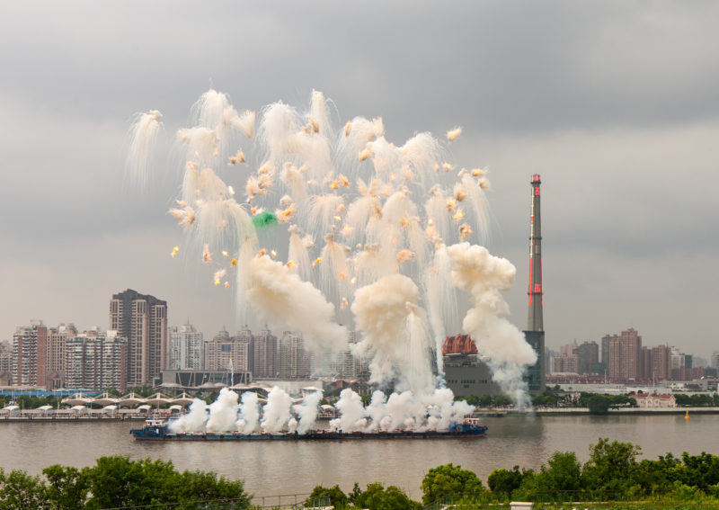Cai Guo-Qiang - Elegy (Explosion Event), The Ninth Wave at Huangpu riverfront of the Power Station of Art, Shanghai, China