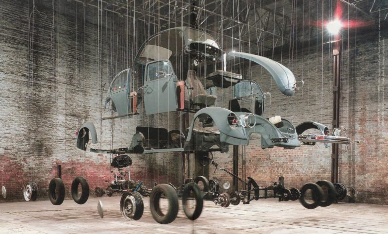 Damián Ortega – Cosmic Thing, 2002, Volkswagen Beetle 1983, stainless steel wire, acrylic, 50th Venice Biennial, 2003