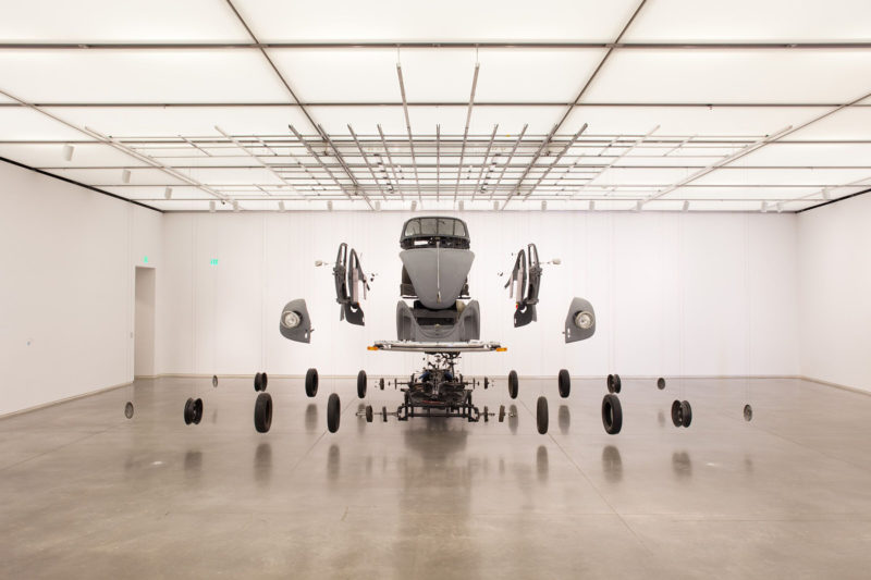 Damian Ortega – Cosmic Thing, 2002, Volkswagen Beetle 1983, stainless steel wire, acrylic, exhibition 'Do It Yourself' at Institute of Contemporary Art, Boston, 2009