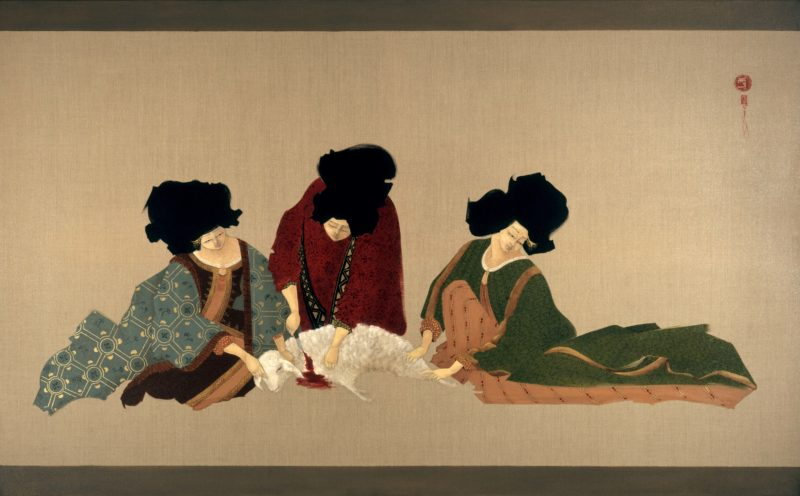 Hayv Kahraman - Collective Cut, 2008, Oil on linen, 106.5x173cm, courtesy the artist and Saatchi Gallery