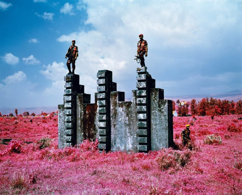 Richard Mosse – Triumph of the Will, ARDC soldiers demonstrate the purpose of an old Belgian commando training structure at Rumangabo military base, North Kivu