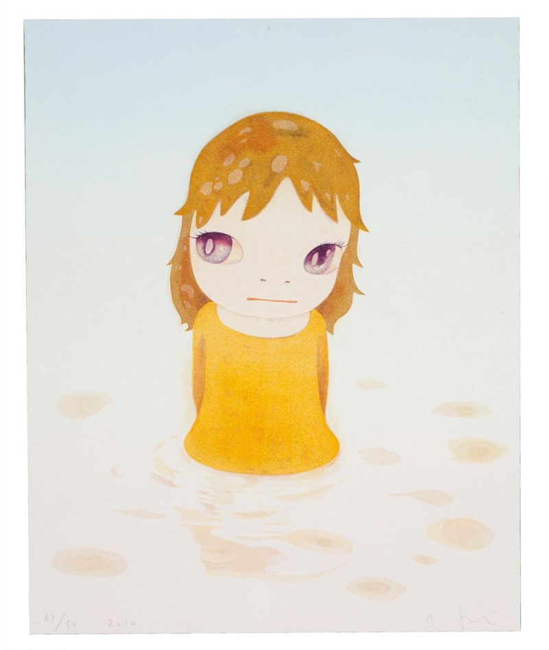 Yoshitomo Nara - After the Acid Rain (Day Version) woodcut in colors, 2010, on wove paper, signed and dated in pencil 21 7/8 x 17½ in. (555 x 445 mm.)