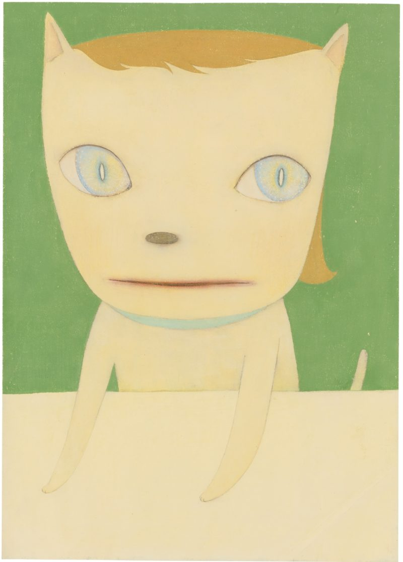 Yoshitomo Nara - Big Eyed Cat, 2003, acrylic and pigment on printed paper, 30 by 22 in. 76.2 by 55.9 cm