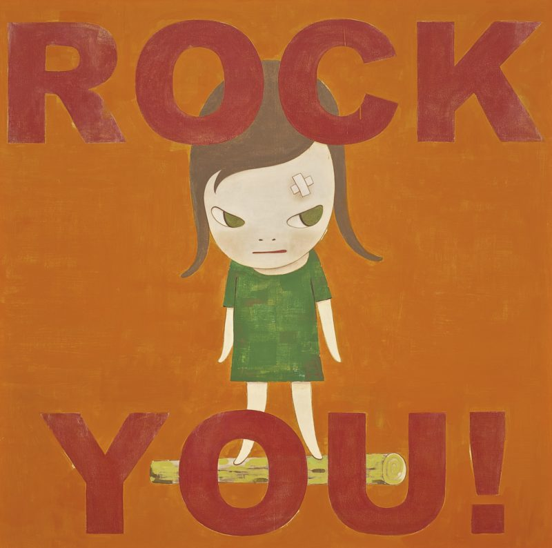 Yoshitomo Nara - ROCK YOU ! signed in English and dated 2006 on the reverse, framed acrylic on board 162 by 162 cm.; 63¾ by 63¾ in.