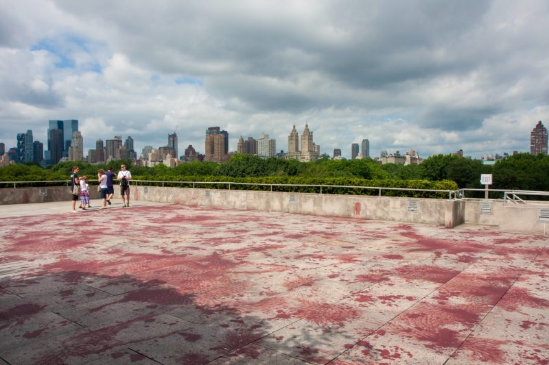 Imran Qureshi - And How Many Rains Must Fall Before the Stains Are Washed Clean, 2013, acrylic, 743 sqm., installation view, Roof Garden, The Metropolitan Museum of Art, New York, 2013