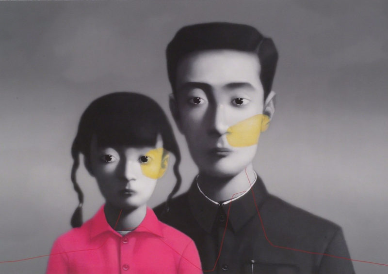 Zhang Xiaogang – Bloodline Series – Father and Daughter No. 1, 2005, oil on canvas, 80x100cm