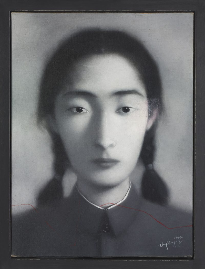 Zhang Xiaogang - Bloodline Series, 1996, oil on canvas, 40 x 30.2 cm