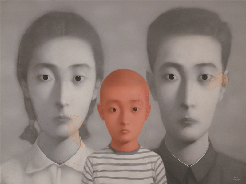 Zhang Xiaogang - Bloodline Series - Big Family No. 1, 2001, oil on canvas, 200x300cm