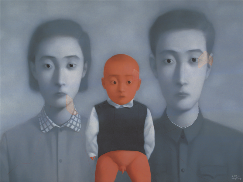 Zhang Xiaogang - Bloodline Series - Big Family No. 2, 2001, oil on canvas, 200x300cm