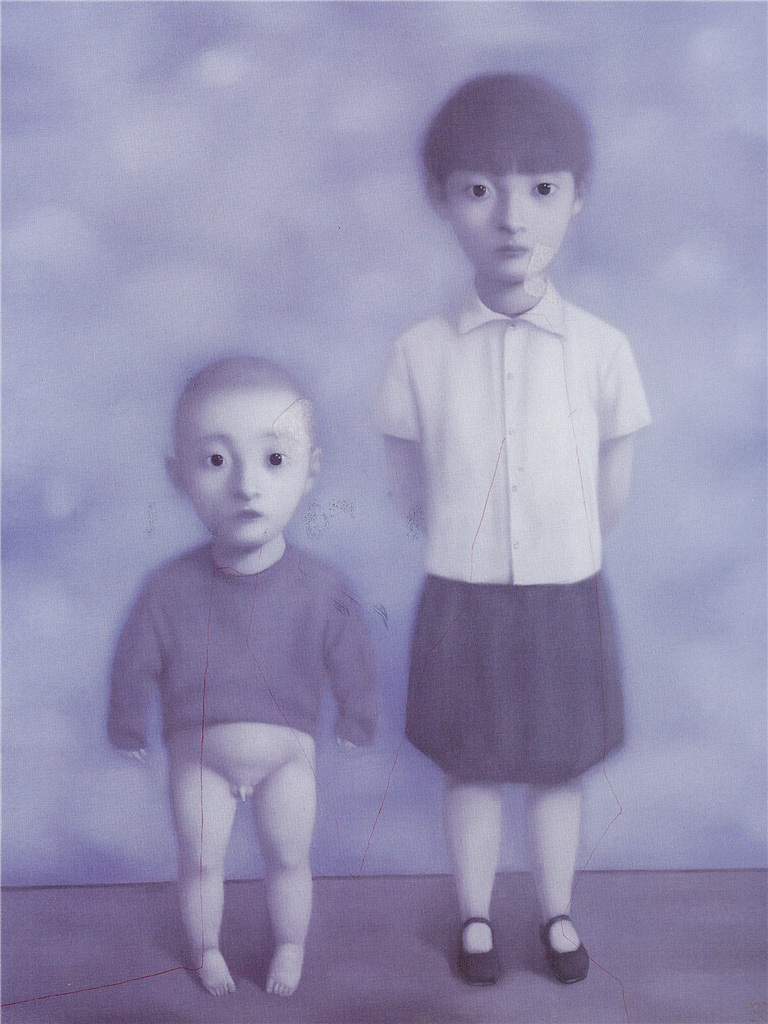 Zhang Xiaogang - Bloodline Series - Big Family- Sister and Brother, 1999, oil on canvas, 190x150cm