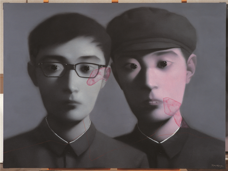 Zhang Xiaogang - Bloodline Series - Brothers, 2006, oil on canvas, 180x230cm