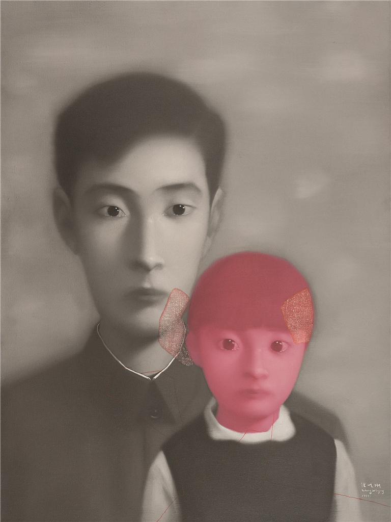 Zhang Xioagang - Bloodline Series - Father and Daughter No. 1, 1999, oil on canvas, 100x80cm
