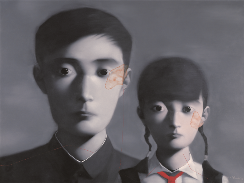 Zhang Xioagang - Bloodline Series - Father and Daughter No. 1, 2008, oil on canvas, 200cx160cm