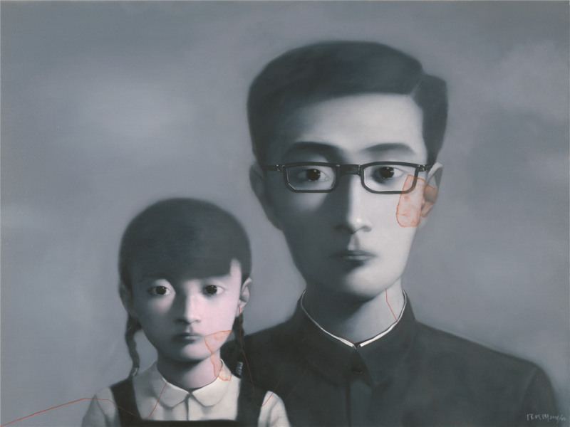 Zhang Xiaogang - Bloodline Series - Father and Daughter No. 1, 2010, oil on canvas, 120cmx150cm