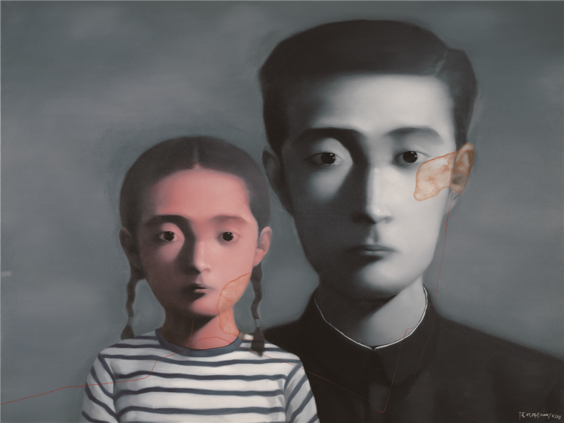Zhang Xiaogang - Bloodline Series - Father and Daughter No. 2, 2008, oil on canvas, 160x200cm