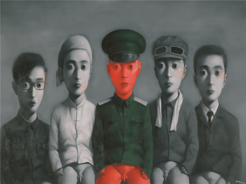Zhang Xioagang - Bloodline Series - My Ideal Job — Worker, Peasant, Businessman, Student, Soldier), 2008, oil on canvas, 280x500cm