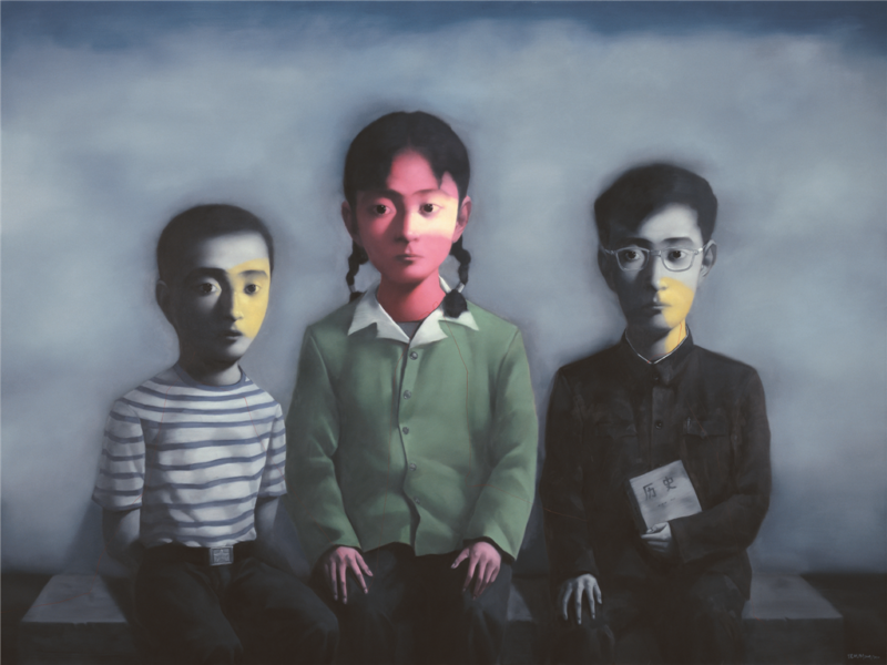 Zhang Xiaogang - Bloodline Series - Sister and Brother, 2010, oil on canvas, 270x370cm