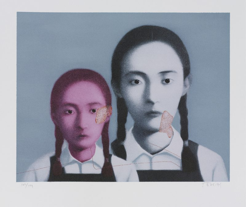 Zhang Xiaogang - Bloodline Series - Two Sisters, 2003, lithograph, 50.8x64.1cm