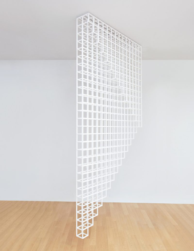 Sol LeWitt - Hanging Structure 28 B, 1989 white painted wood 133 1:2 x 10 x 67 in., 339.1 x 25.4 x 170.2 cm
