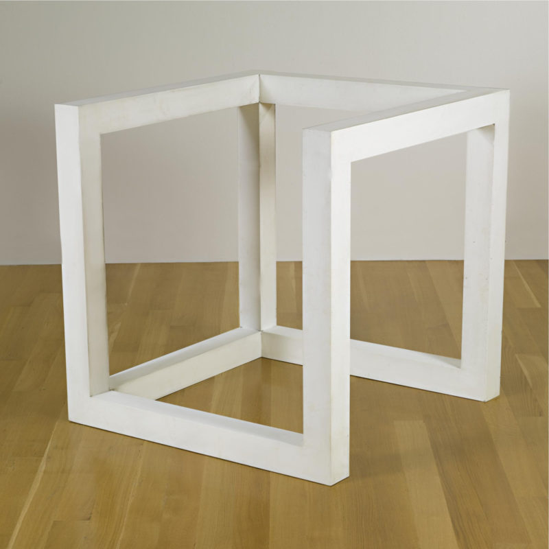 Sol LeWitt - Incomplete Open Cube (10-4), 1974, baked enamel on aluminum, 42 by 42 by 42 in. 106.7 by 106.7 by 106.7 cm