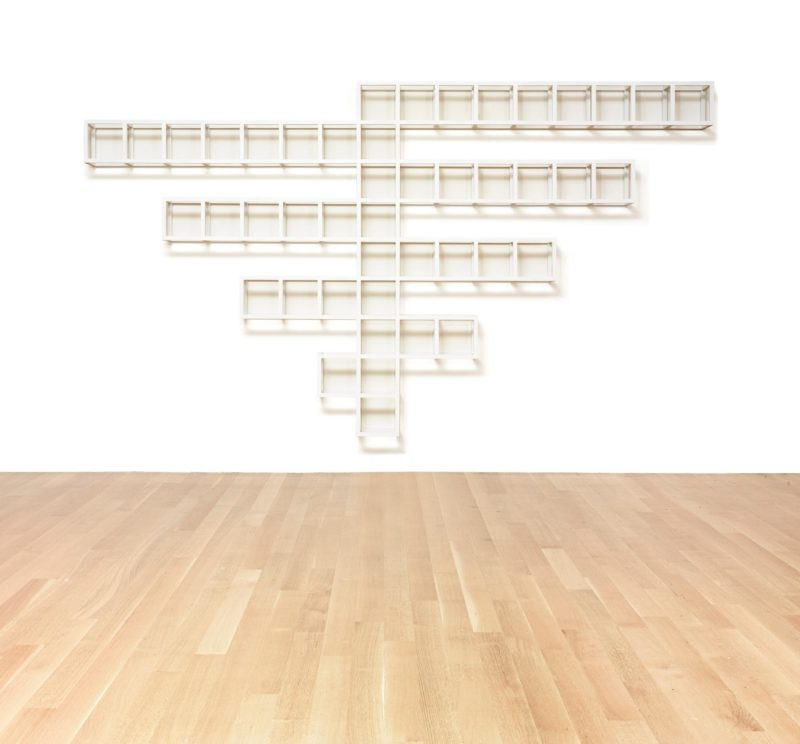 Sol Lewitt - Wall Structure B, 1978, Painted wood, 219.1 by 388.6 by 26.7 cm