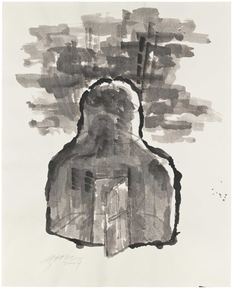 Zhang Huan - Berlin Buddha (Preparatory Drawing), 2007, ink and soya sauce on paper, 82.5 x 102cm