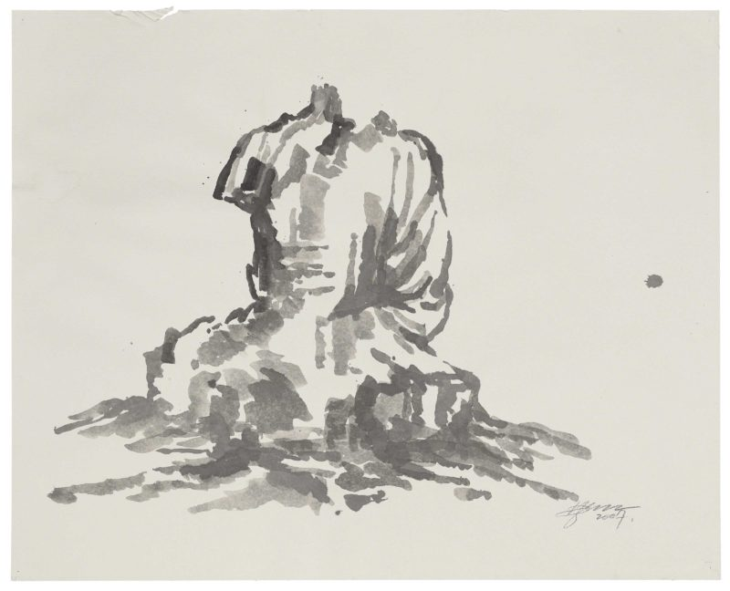 Zhang Huan - Berlin Buddha (Preparatory Drawing) 5, 2007, ink on paper, 82.5 x 102cm
