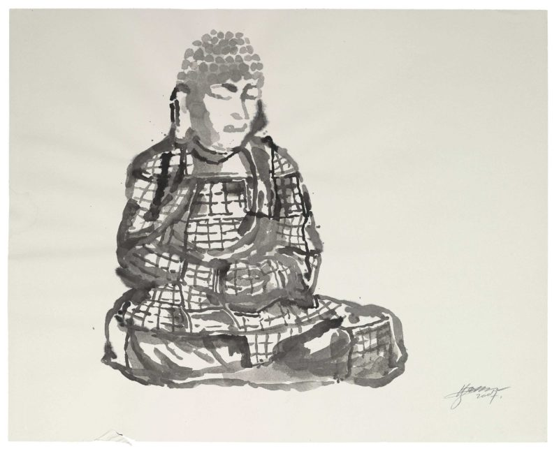 Zhang Huan - Berlin Buddha (Preparatory Drawing) 7, 2007, ink on paper, 82.5 x 102cm